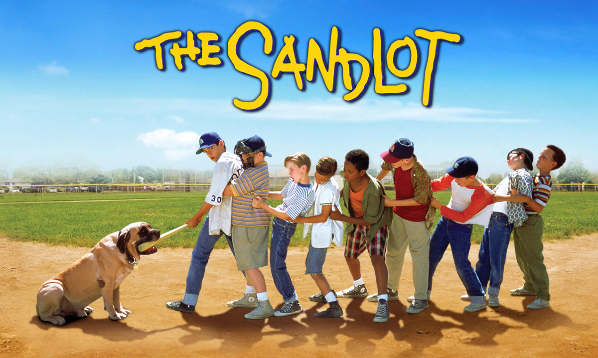 Promo image for the movie The Sandlot with dog and boys