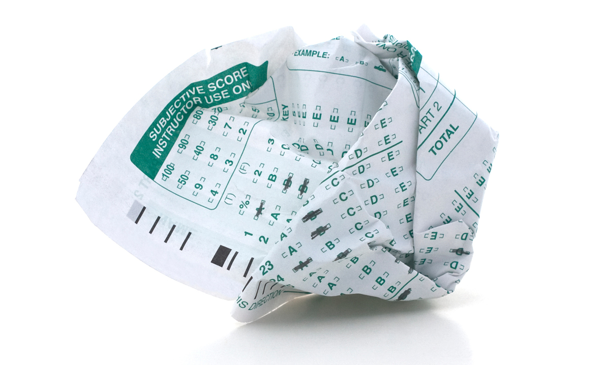 Crumpled up Scantron test