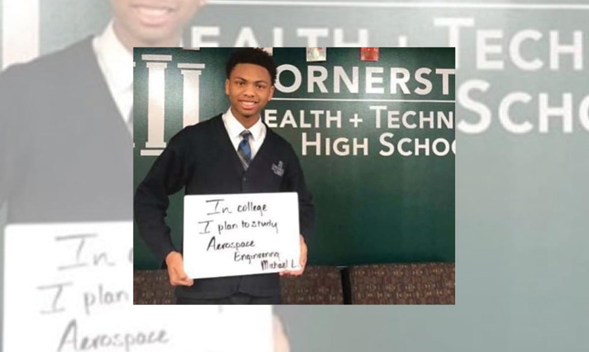 Detroit student Michael Love at Cornerstone Health + Technology High School in Detroit