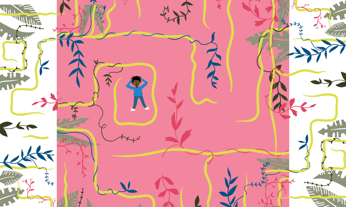 A child with ADHD caught in a maze of vines and thoughts