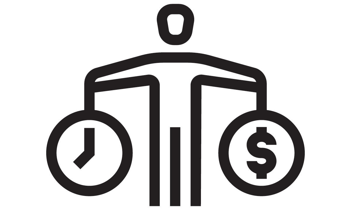 Figure holds clock in one hand, dollar sign in circle in the other