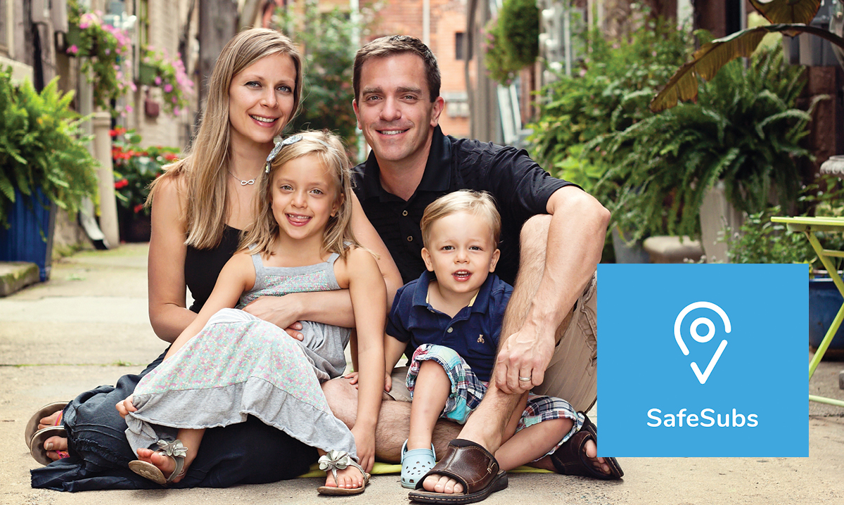 The Pagett family of Howell, including dad Chris, creator of the SafeSubs app