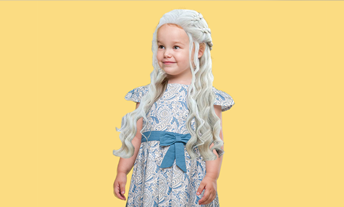 Young girl wearing a Khaleesi wig