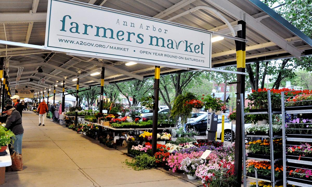 Flower market at the Ann Arbor farmers market