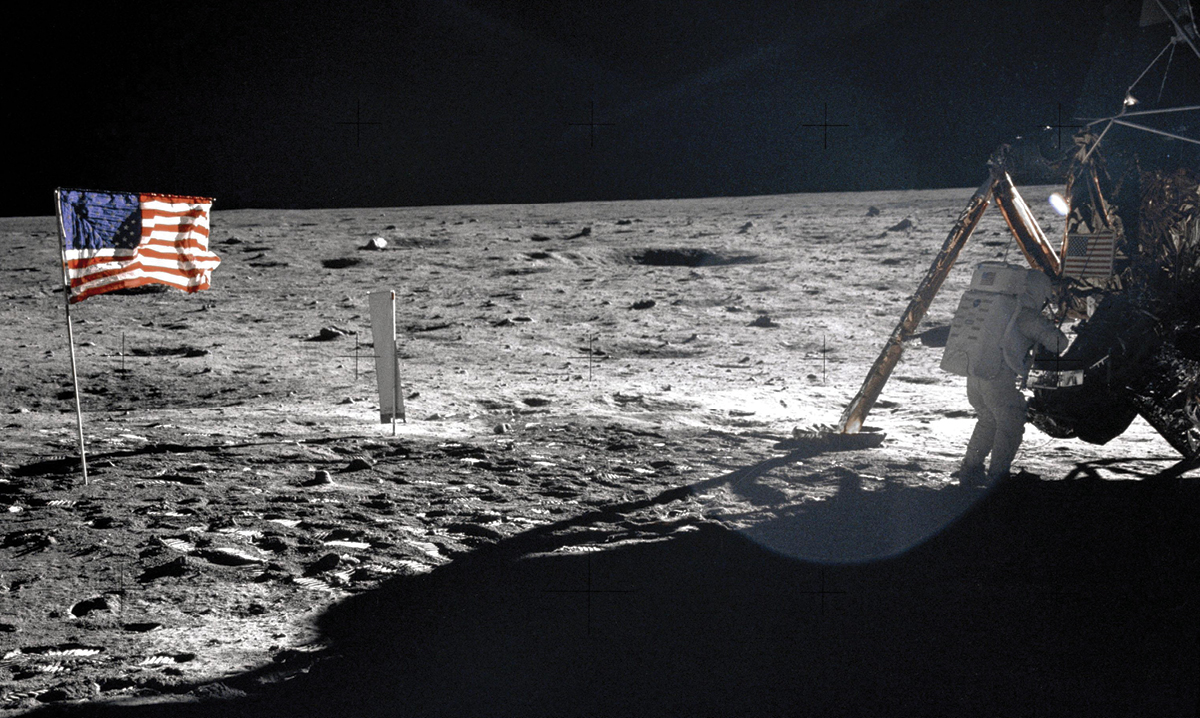 Image of the American flag on the moon