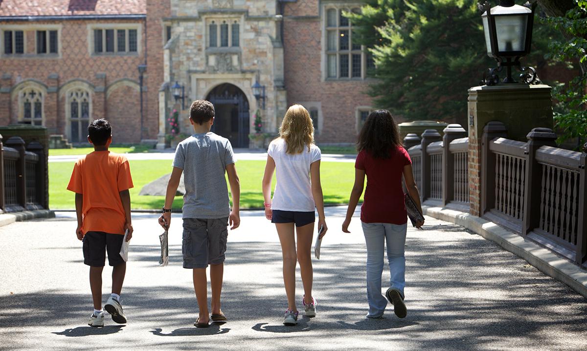 Four kids exploring Meadow Brook Hall