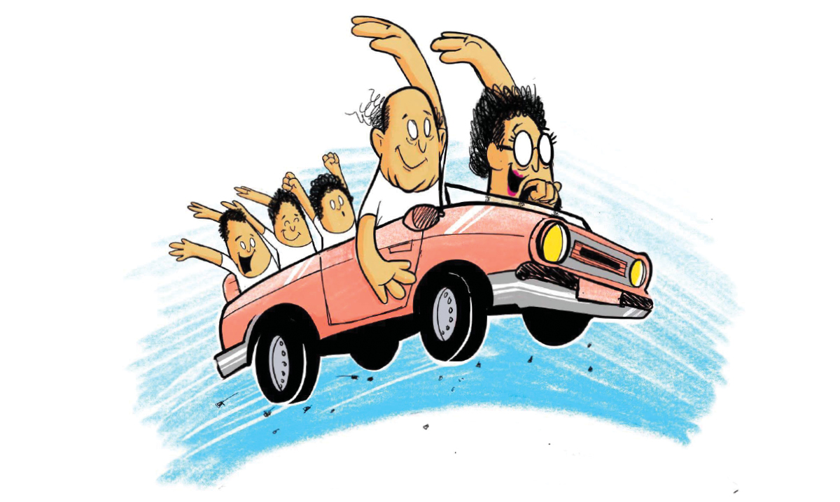 Illustration of an older couple in a car with three kids