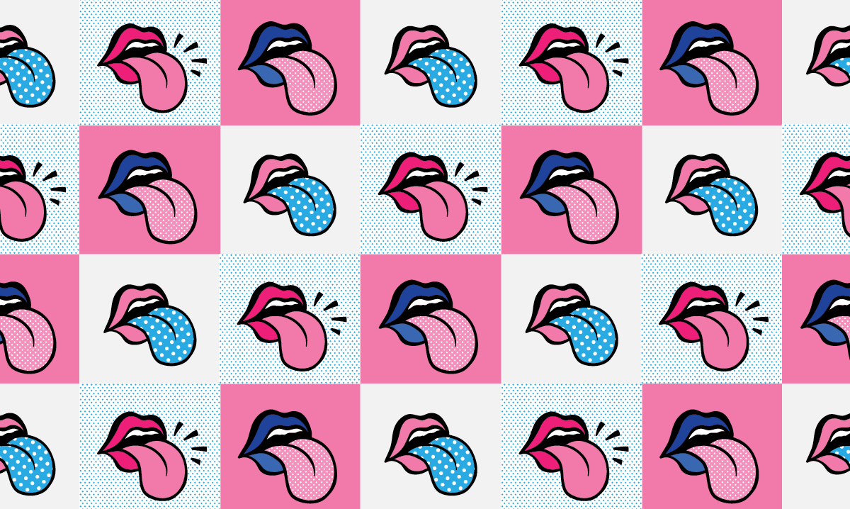 Multiple color tongues on a checkerboard background