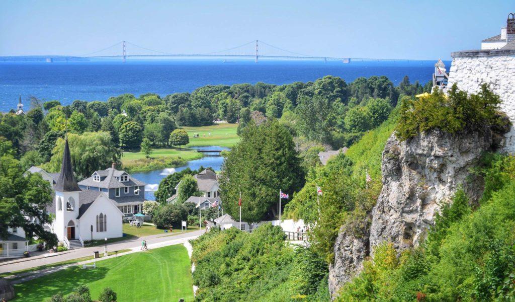 Mackinac Island view of fort and bridge