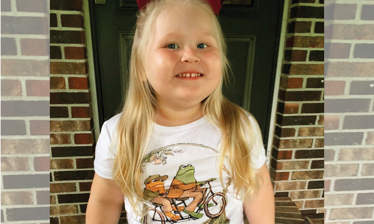 Kelsey Dawn Williamson's daughter Salem in the Frog and Toad shirt