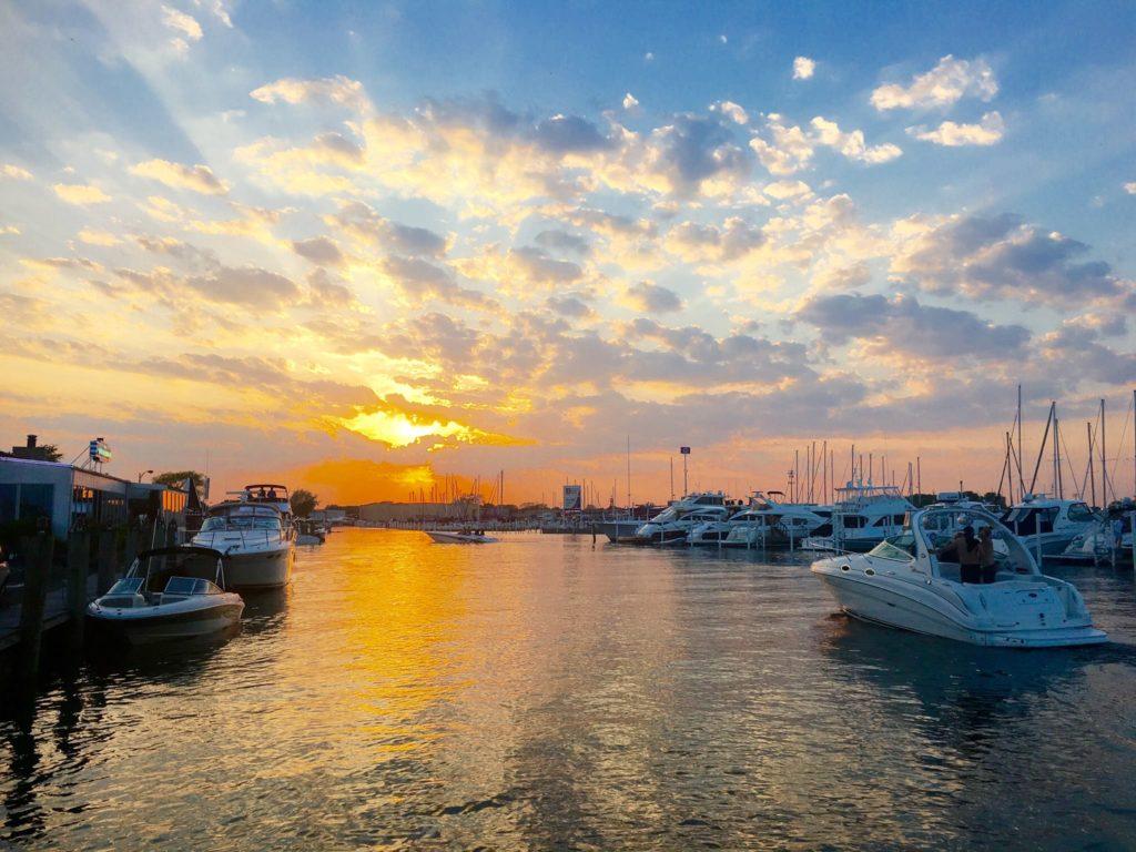 St. Clair Shores marina view at sunset