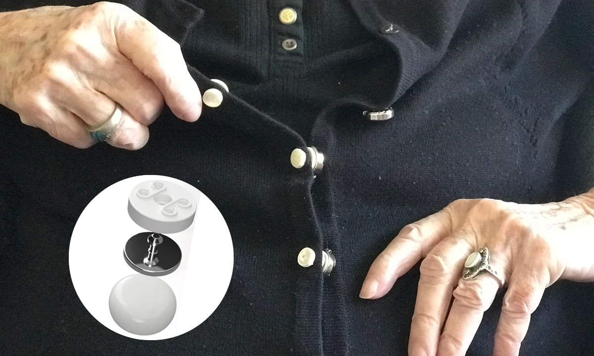 Close-up of the Buttons 2 Button clothing adaptor