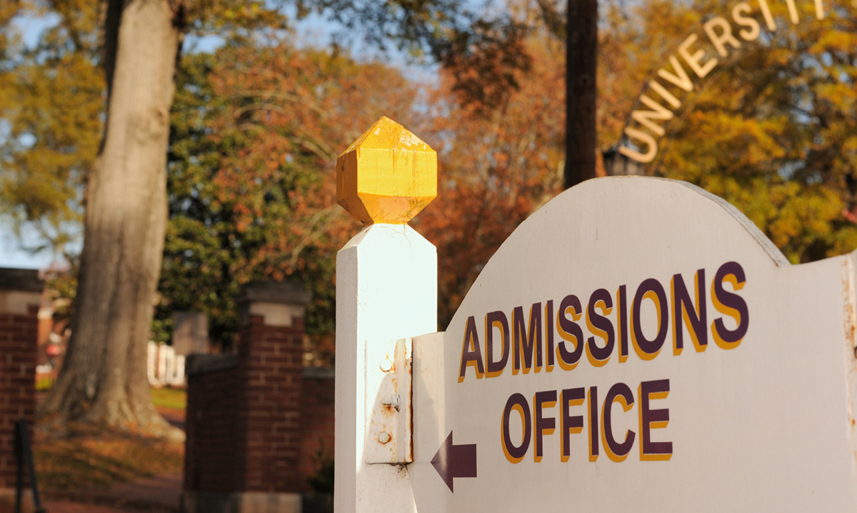 College admissions office on a university campus