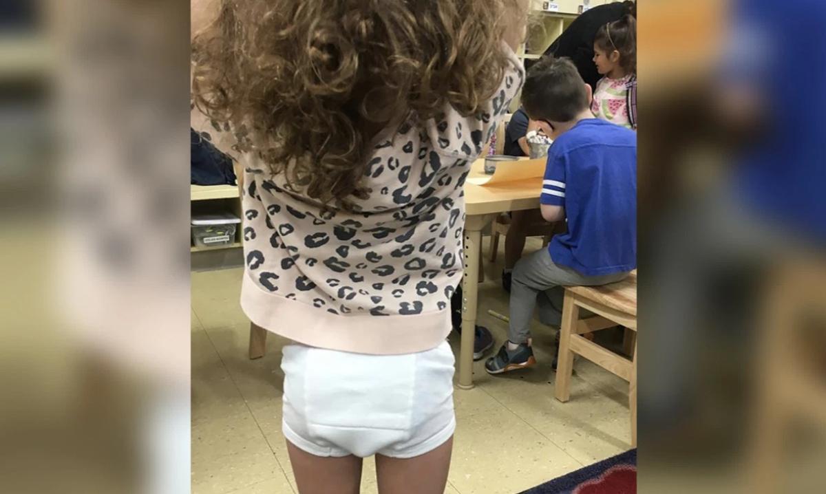 Girl wearing underpants to school