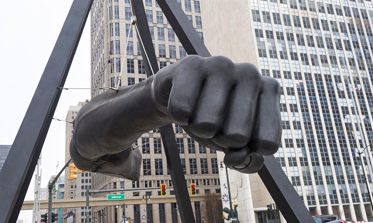 Joe Louis fist monument in downtown Detroit