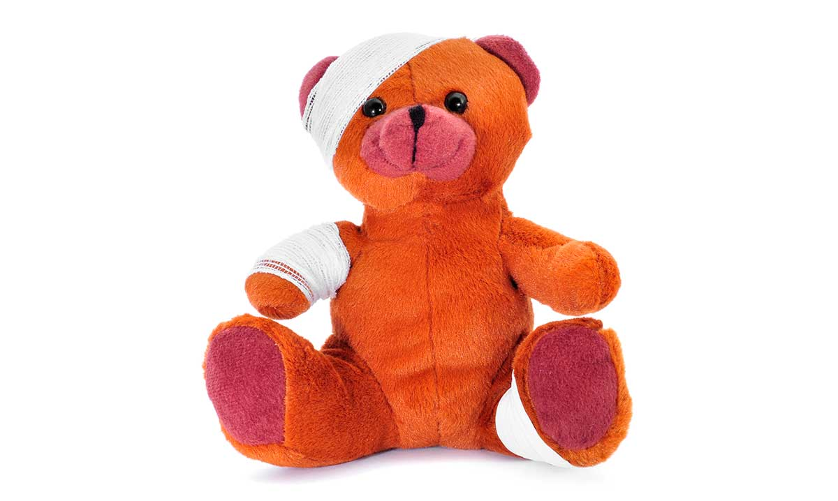 Teddy bear wrapped in bandages