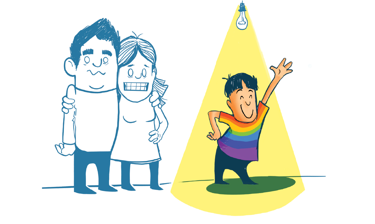 A young boy in a rainbow comes out as gay while his parents struggle