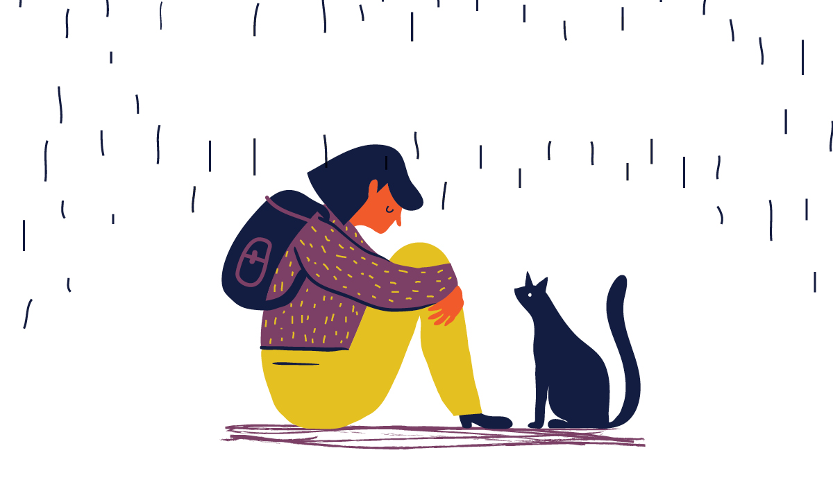 A sad girl in the rain with a black cat