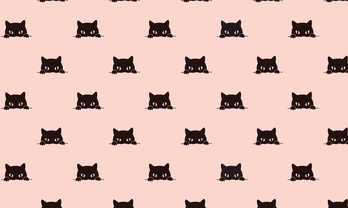 illustration of black cats on a light pink background