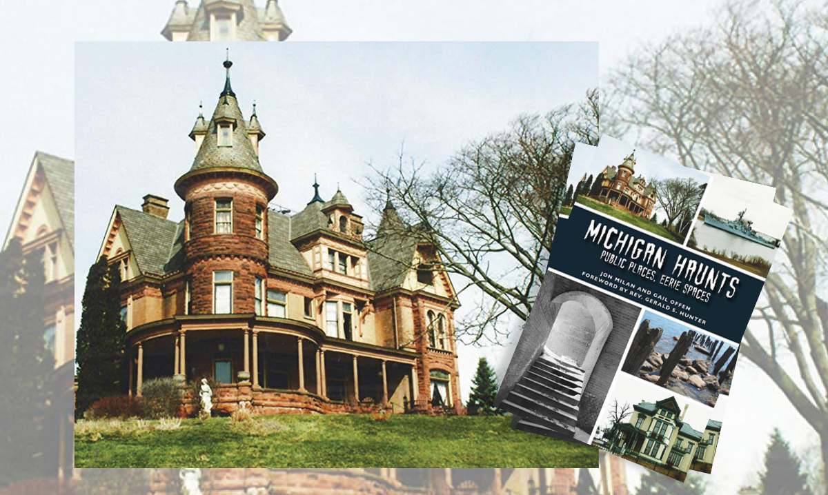 Michigan haunts book cover over a creepy looking house