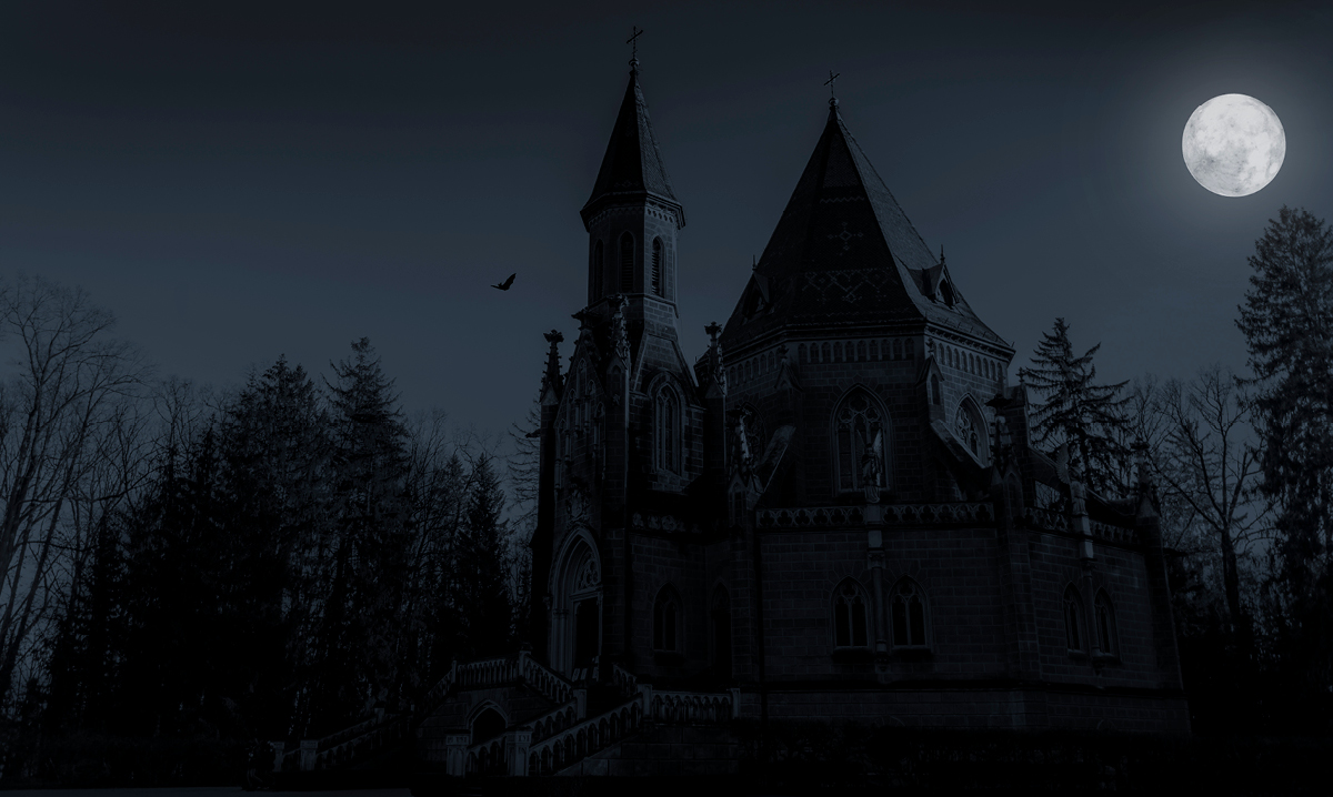 Creepy castle on a dark background with a full moon
