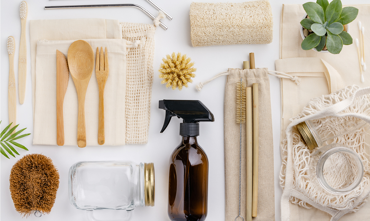 Zero-waste products on a white background