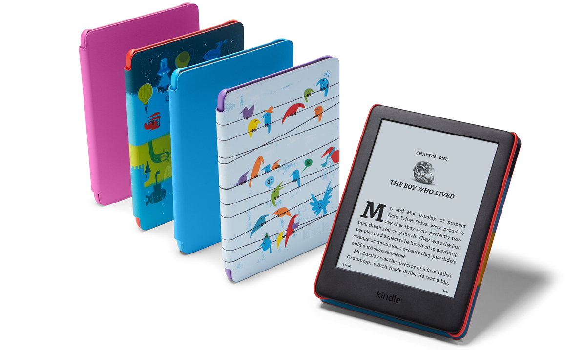 Image of kindle for kids along with four accessories on a white background