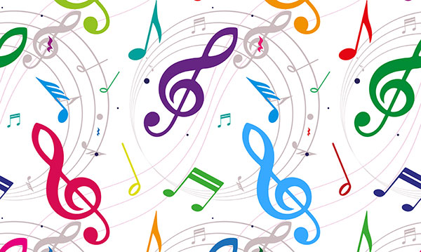 colorful music notes on a white background