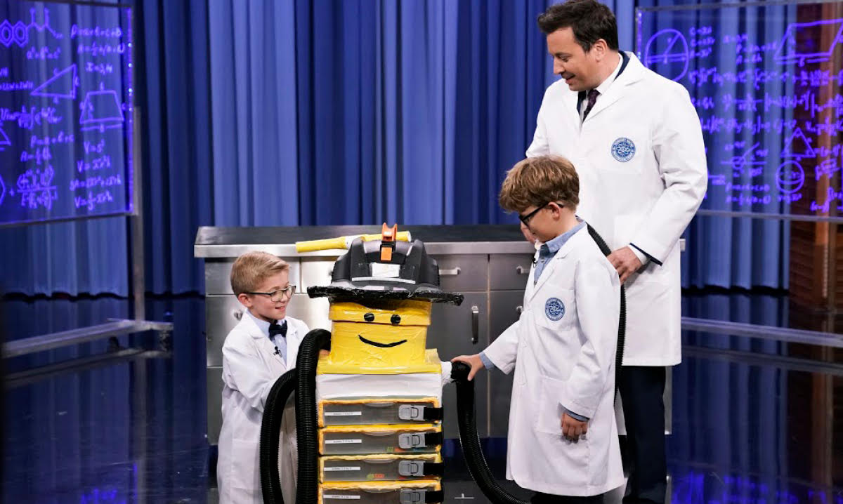 Tyler and Graham with their invention and Jimmy Fallon