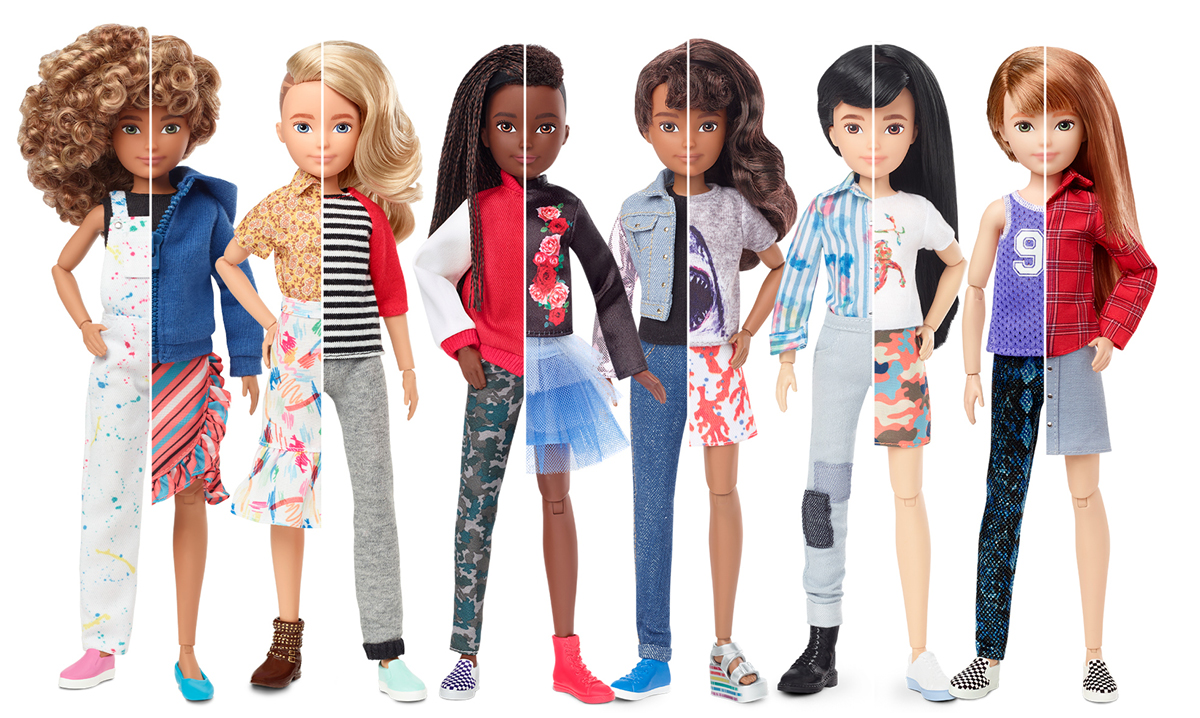 image of the new gender neutral dolls on a white background
