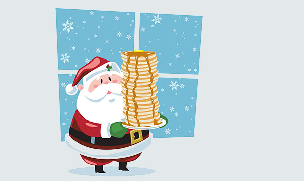 Cartoon of Santa carrying a stack of pancakes