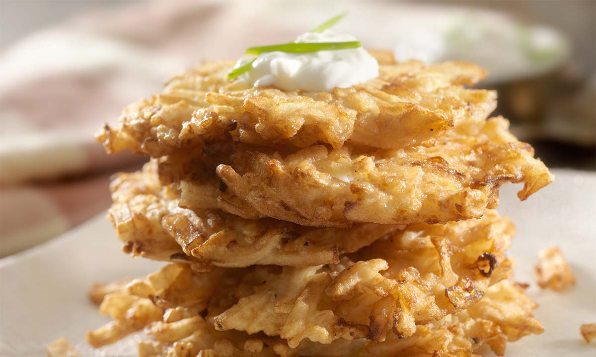 Potato Pancakes, Latkes with Sour Cream and Chives