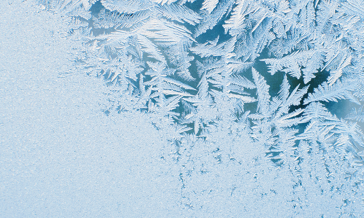 Ice crystals on a blue background