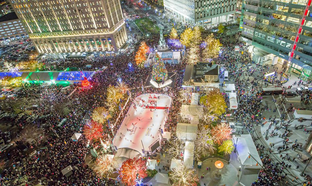Tree Lighting at the Rink at Campus Martius Park in Detroit