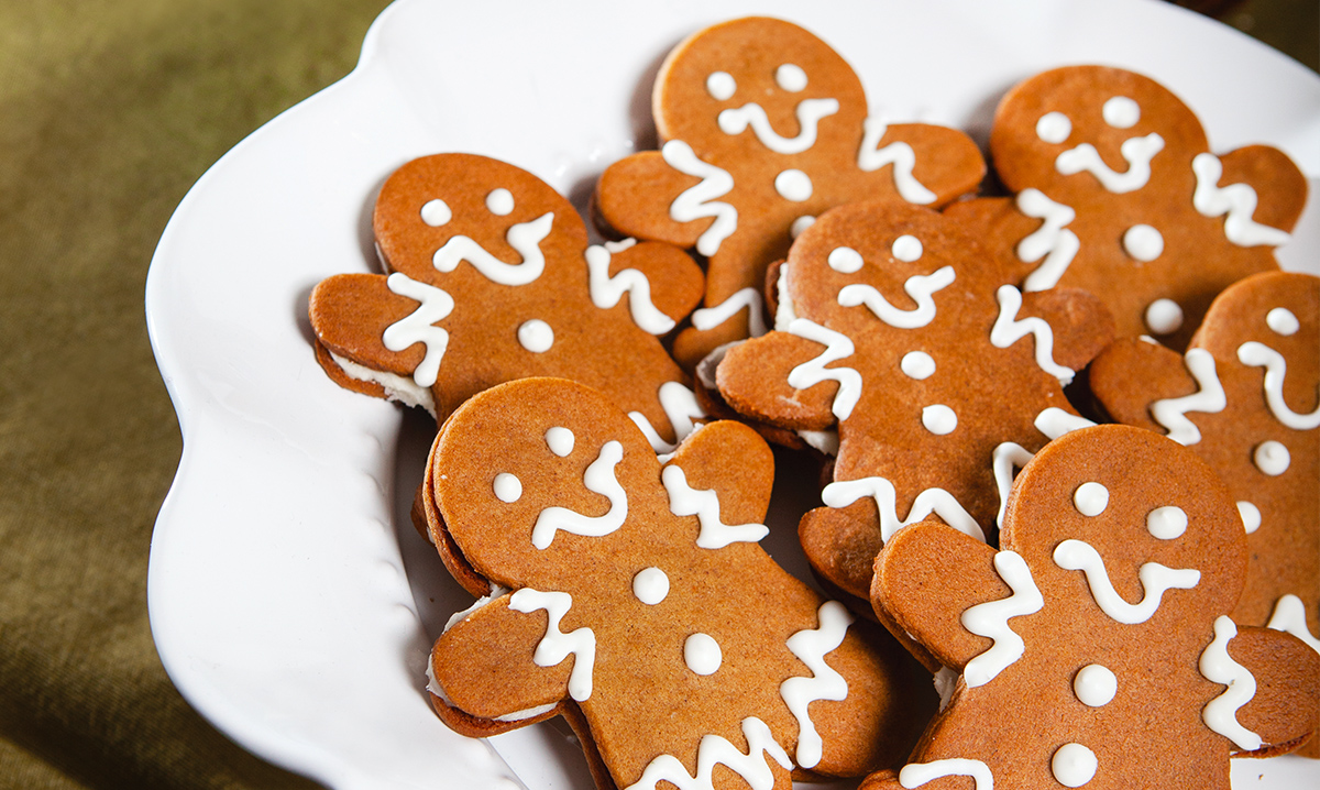 Gingerbread cookies on a white plate