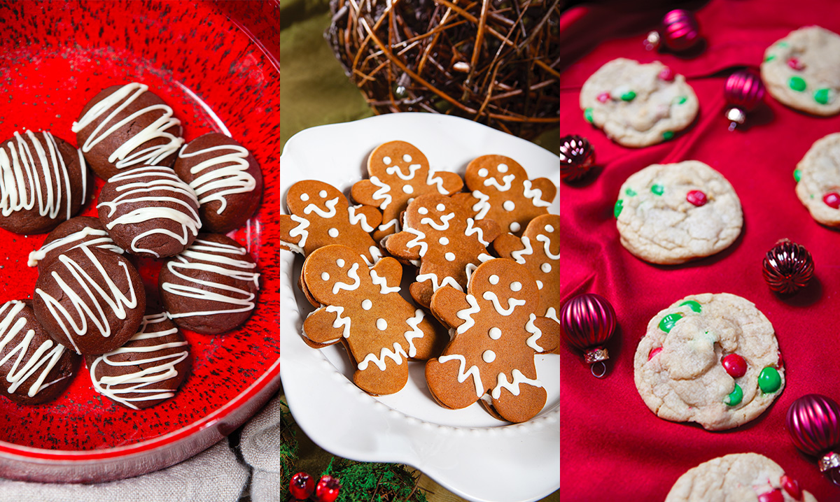 Three types of holiday cookies in a collage