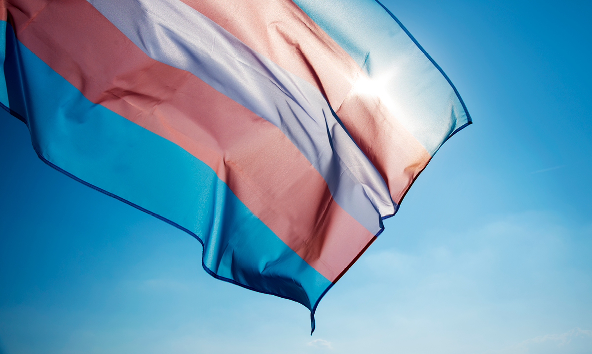A transgender pride flag flying on a blue sky with the sun behind it