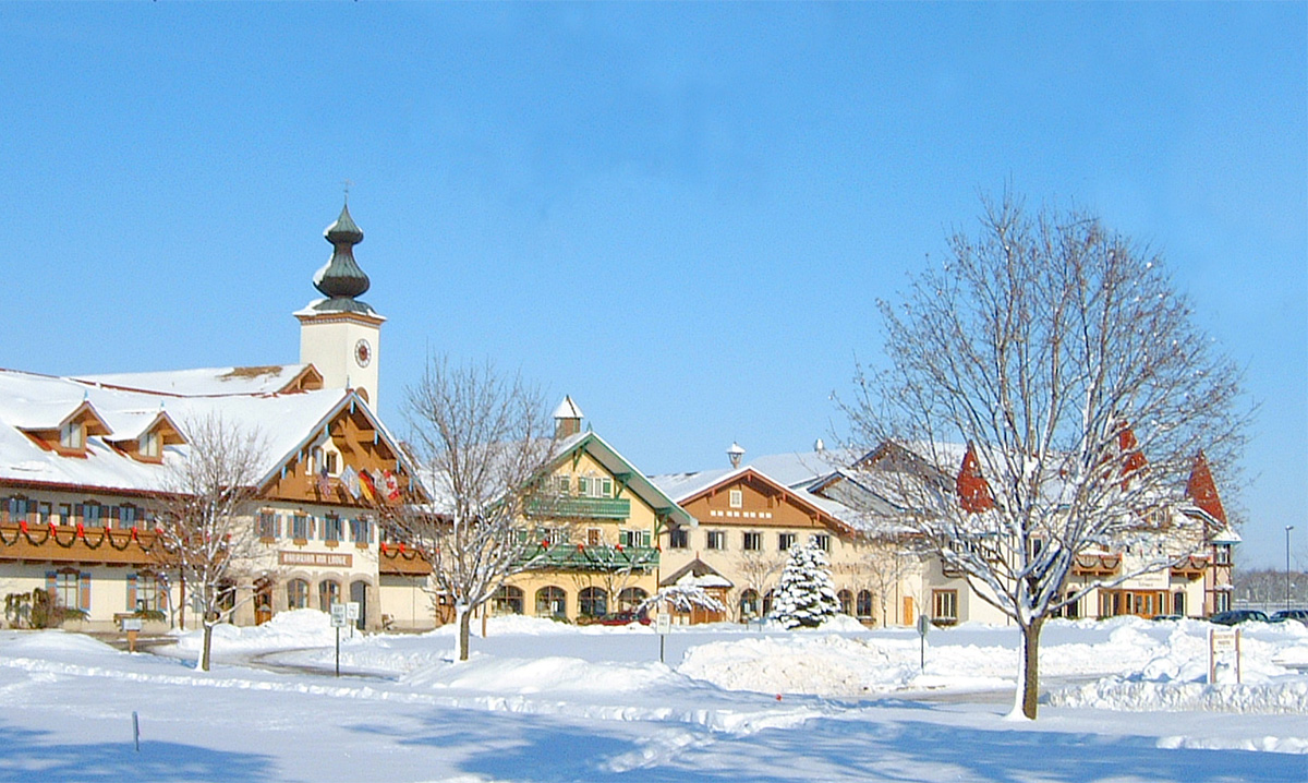 Snow covered Bavarian Inn