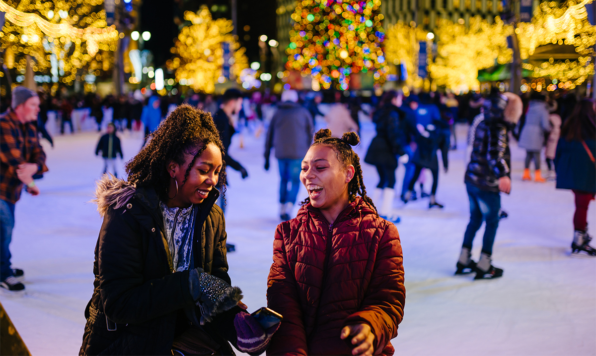 Two girls at The Frankenmuth Rink in Detroit