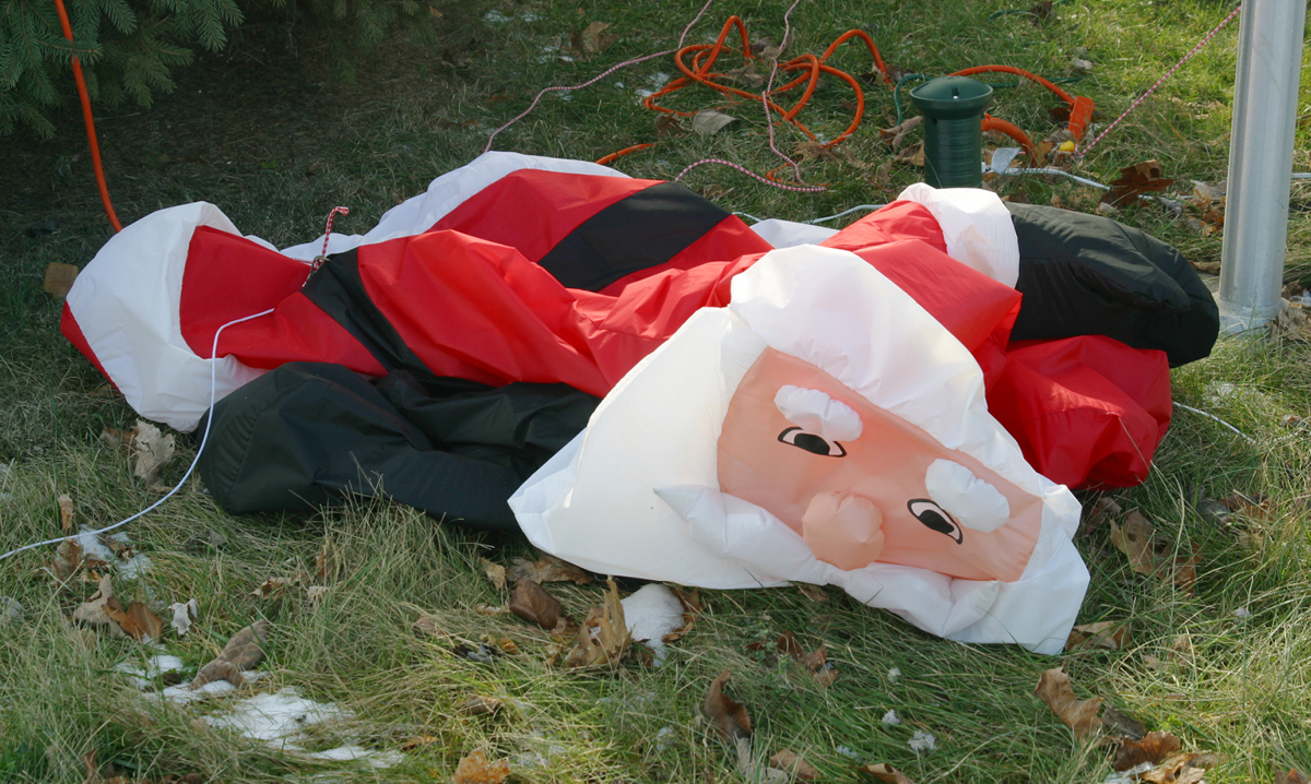 A deflated Santa Clause decoration