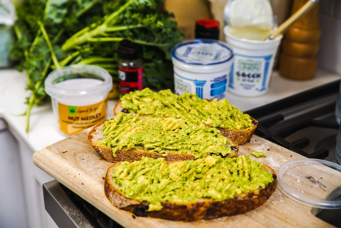 Avocado toast in a kitchen
