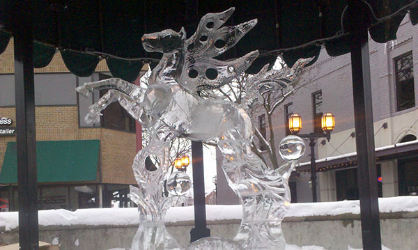 An ice carving on display