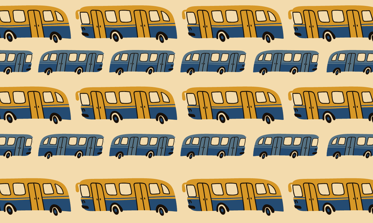 Yellow and blue busses on a light yellow background