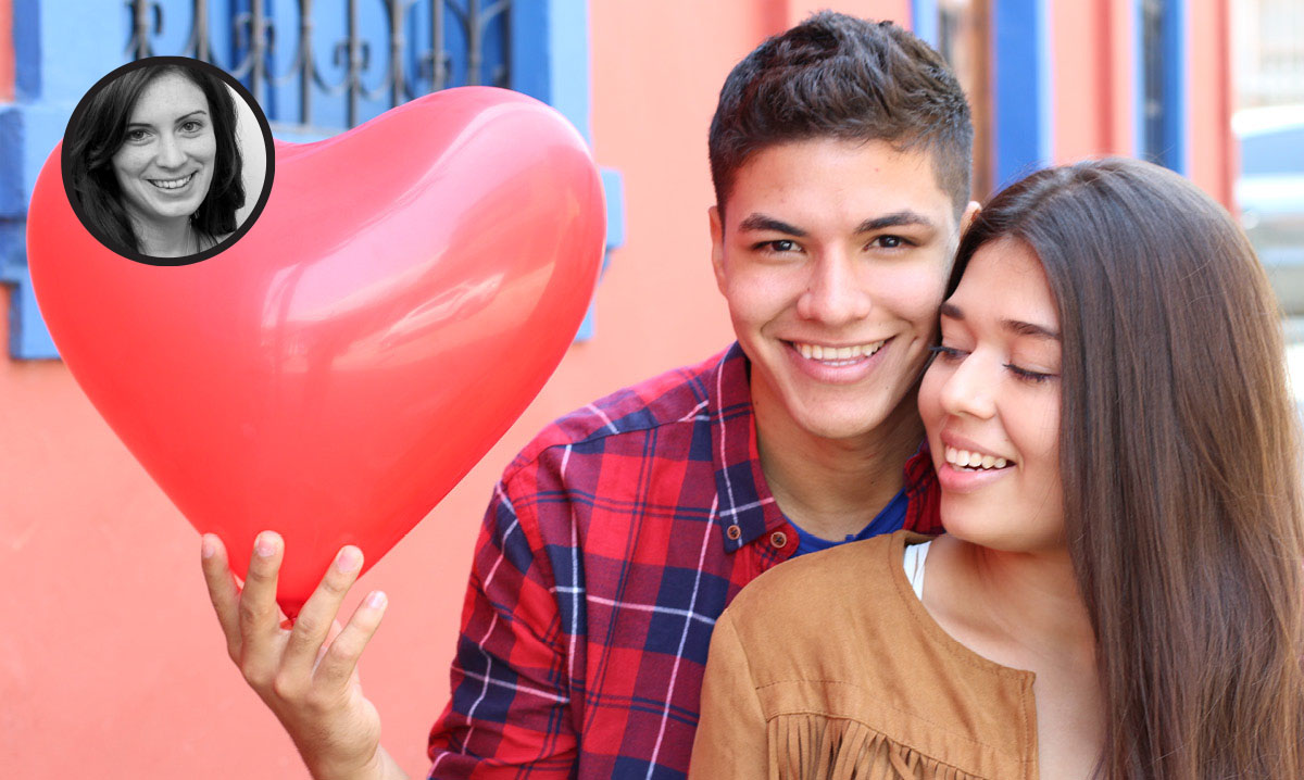 Young couple holding a heart balloon. Author's image in the corner
