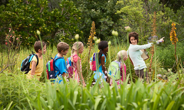 Group of kids and an adult walking through a field