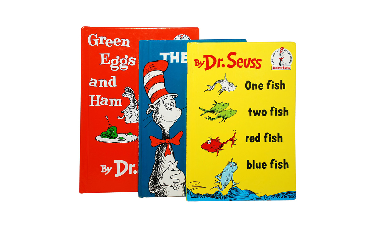 Three Dr. Seuss books on a white background