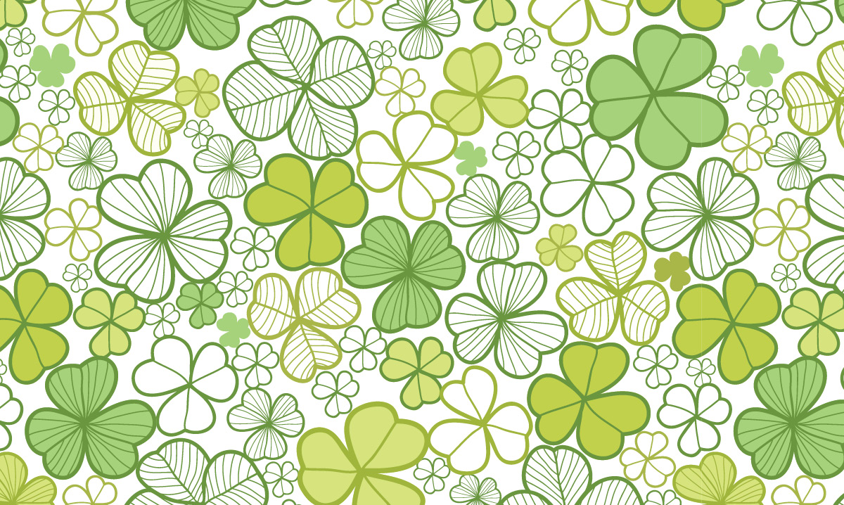 Illustration of three and four leaf clovers