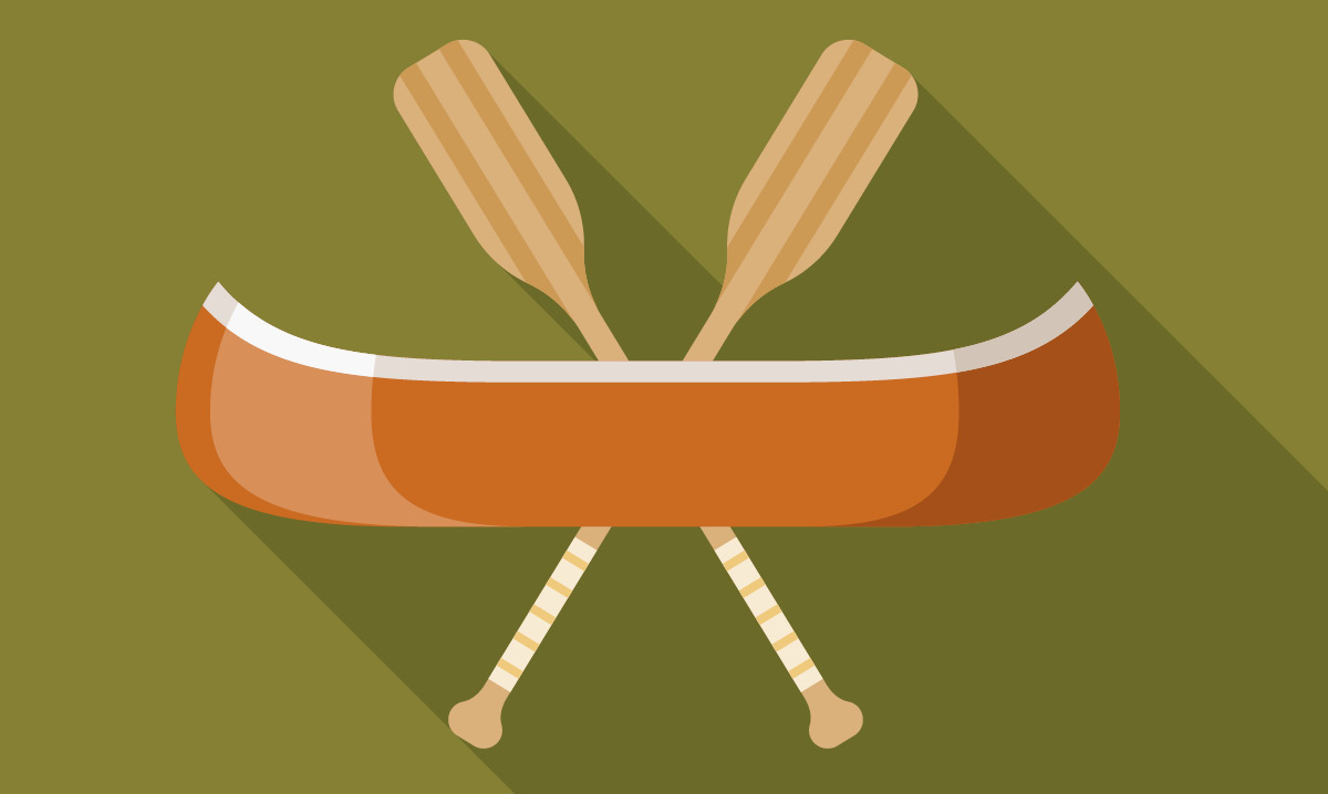 Illustration of a canoe and paddles on a green background