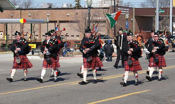 Bag pipers at the Oakland County St. Patrick's Day Parade in Royal Oak