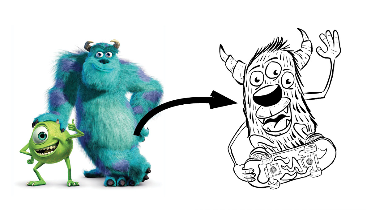 Image of the Monster's Inc monster and an arrow pointing to the monster coloring book monster